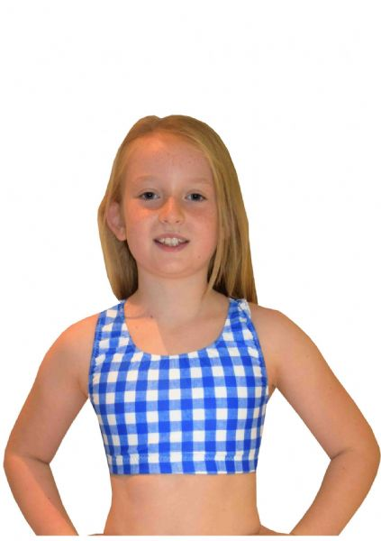 EARL421 Blue and white checked Crop Top with Racer Back  From £17.95